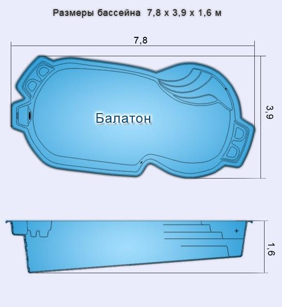 Композитный бассейн БАЛАТОН (7,8x3,9x1,1-1,6) - 1
