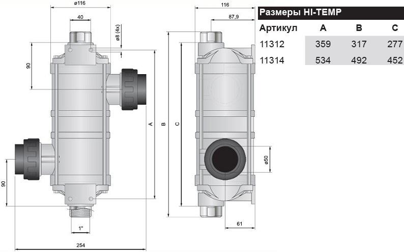 Теплообменник корпус/пластик-спираль/нерж - 1