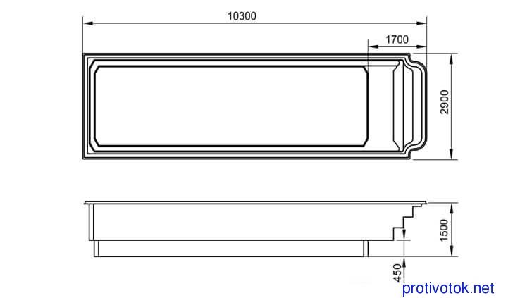 Бассейн АТЛАНТИДА 10 стандарт - белая чаша (10,3x2,9x1,5) - 1
