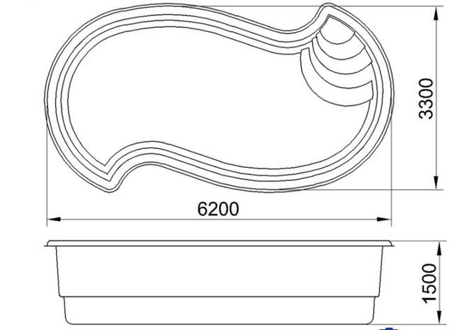 Бассейн АМАЗОНКА премиум 3D (6,2х3,3х1,5) - 2