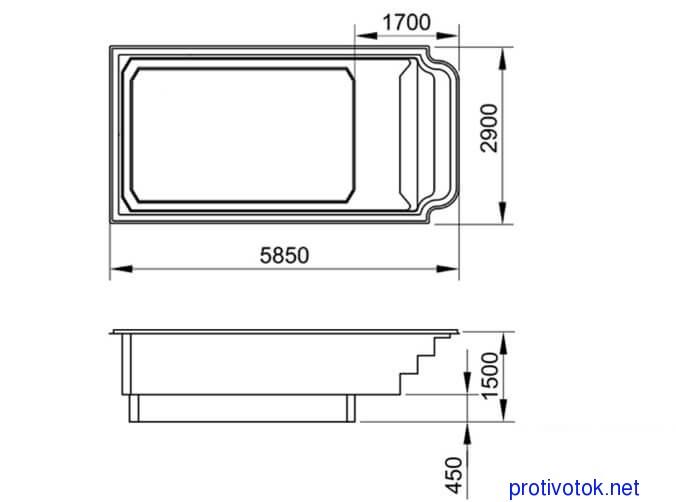 Бассейн АТЛАНТИДА стандарт - белая чаша (5,85х2,9х1,0-1,5) - 1