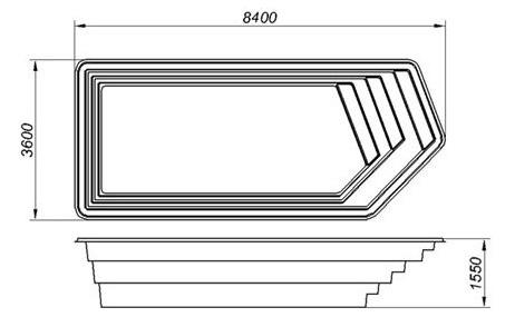 Бассейн ОЛИМПИК стандарт (8,4х3,6х1,55) - 2