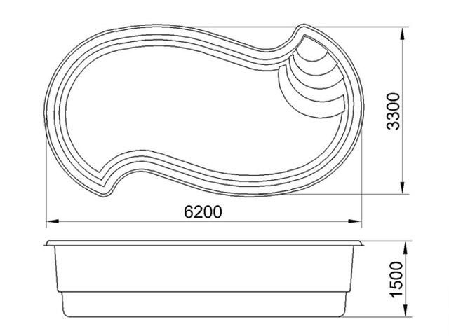 Бассейн АМАЗОНКА стандарт (6,2х3,3х1,5) - 2