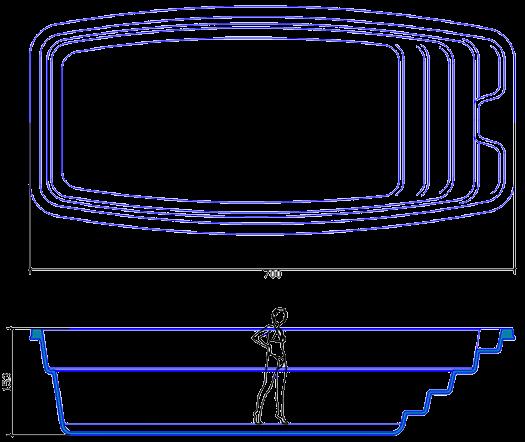 Композитный керамический бассейн NAKURU (7,00x3,30x1,50) - 1